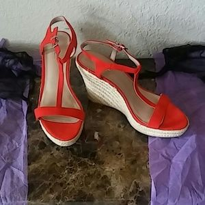 Charles by Charles David Red T-Strap Wedges